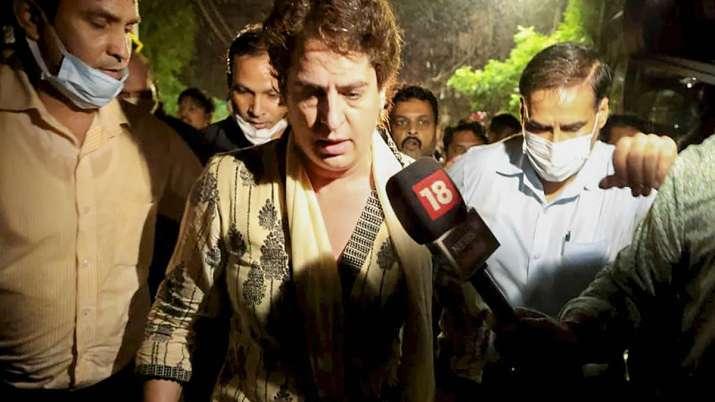 Priyanka Gandhi Vadra was detained by police en route to