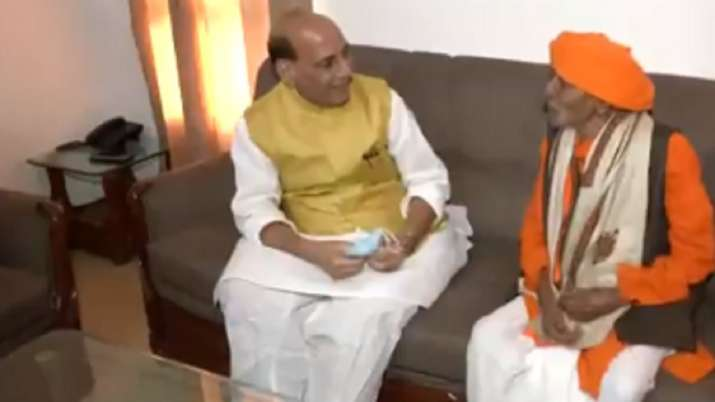 Defence Minister Rajnath Singh meets one of the oldest BJP