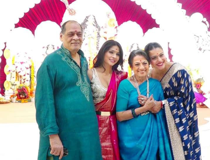 India Tv - Kajol celebrates Durga Ashtami with mother Tanuja, sister Tanisha and son Yug