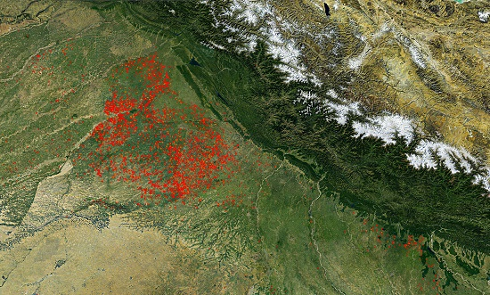 NASA image shows the extent of stubble burning across northern India. - India Tv