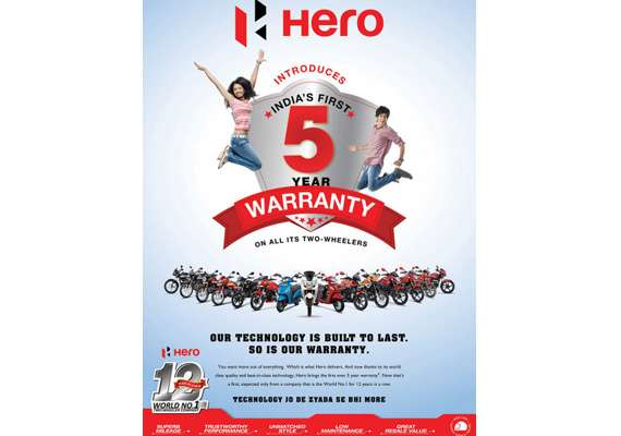 hero motocorp now offers 5 years warranty on all models