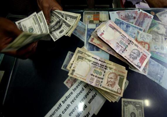 rupee up 8 paise vs dollar
