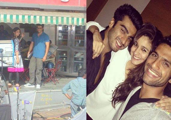 Arjun Kapoor and Alia Bhatt during 2 States shooting ...