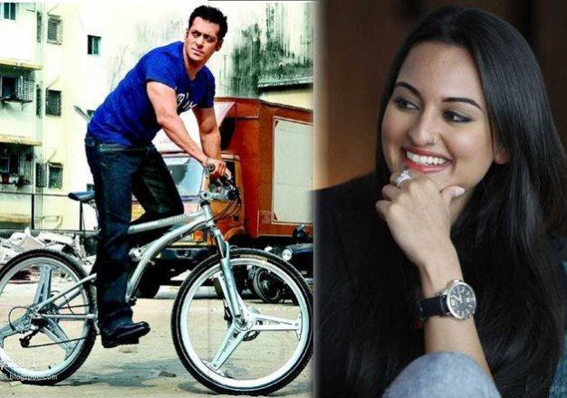 sonakshi sinha copies salman khan rides bicycle on mumbai