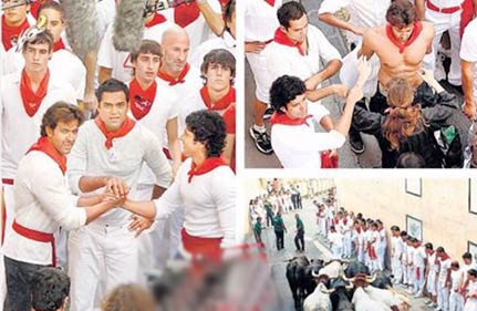 hrithik farhan abhay run with the bulls in spain