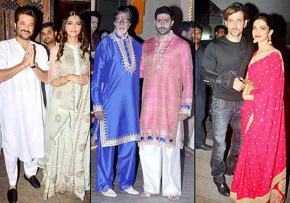 star studded diwali party at amitabh bachchan aamir khan
