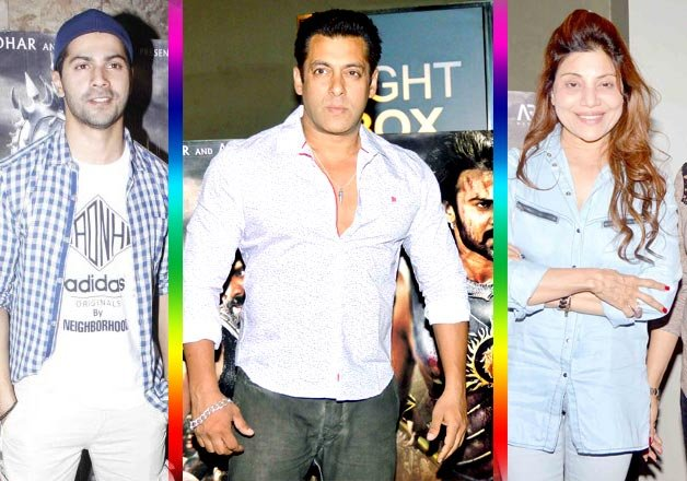 salman khan attends bahubali screening with his three lady