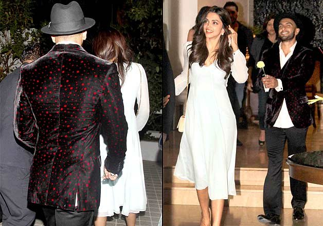 ranveer proposes deepika with a flower at farah khan s