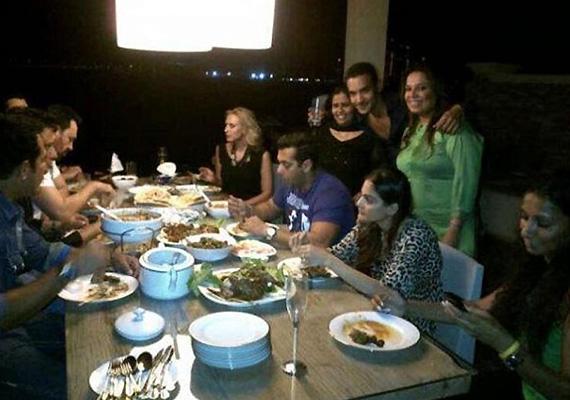 salman does it again enjoys a family meal with iulia vantur