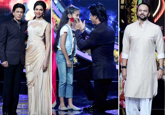 shah rukh deepika and rohit promote chennai express on the
