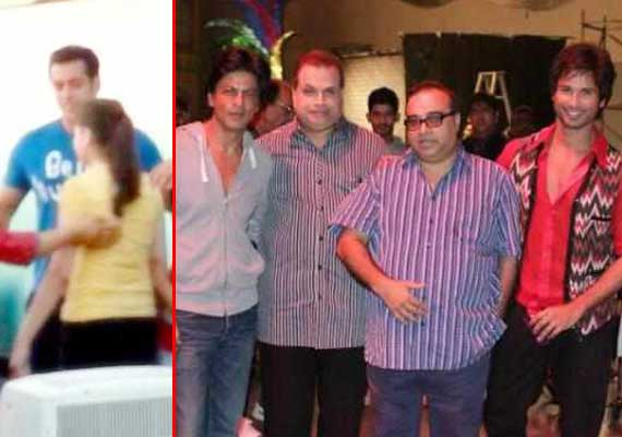 shah rukh and salman spotted on the sets of phata poster