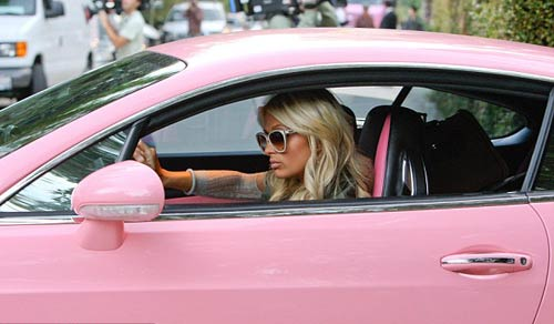 paris hilton gets a matching pink removal van