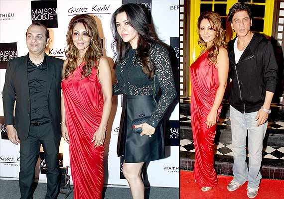 srk cheers for wife gauri at the champagne bash see pics
