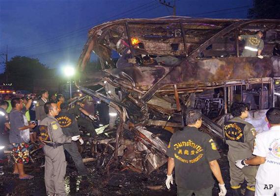 bus truck collision on busy thai highway kills 19