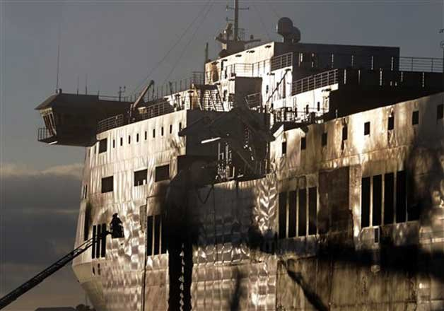 firefighters find black box on still burning ferry