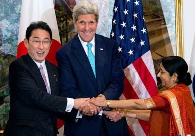 us india and japan hold first ever trilateral meeting