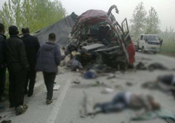 truck flips on road in eastern china killing 16
