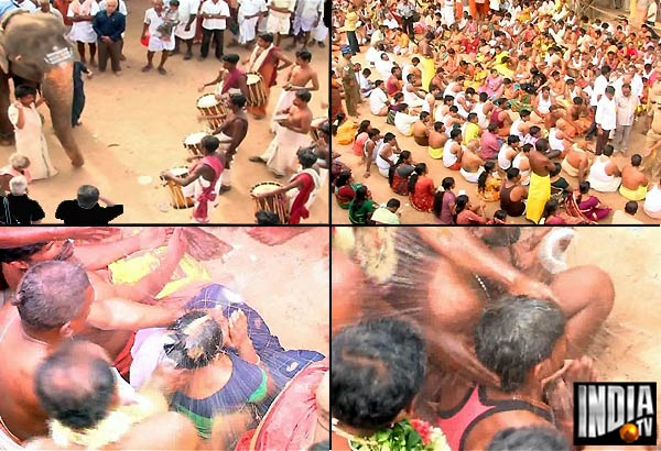 bizarre priest breaks coconuts on heads of karur temple
