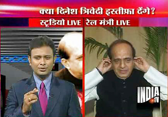 dinesh trivedi cuts short india tv interview on mamata issue