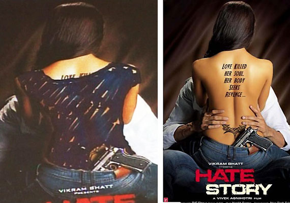 hate story bare back painted blue in kolkata posters