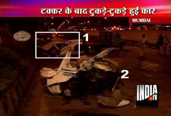 hyundai sonata car at 150 kmph hits divider breaks into two