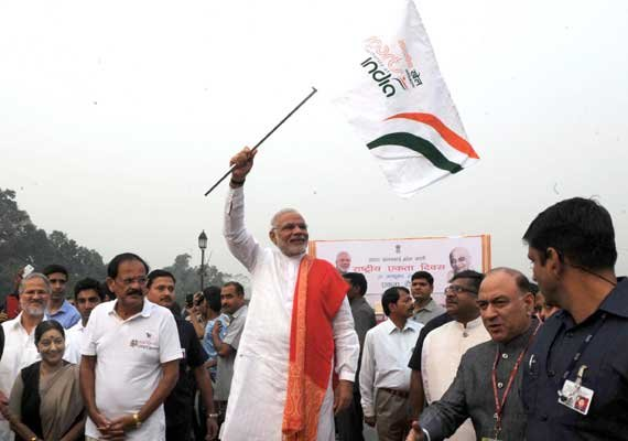 pm narendra modi flagged off run for unity on sardar patel
