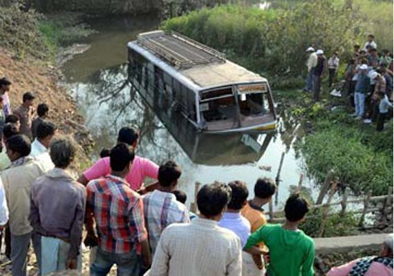 six dead 18 injured as bus falls into drain in punjab