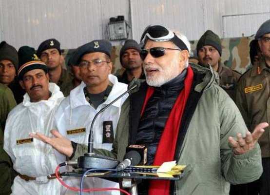 in pics pm modi celebrates diwali with indian soldiers at