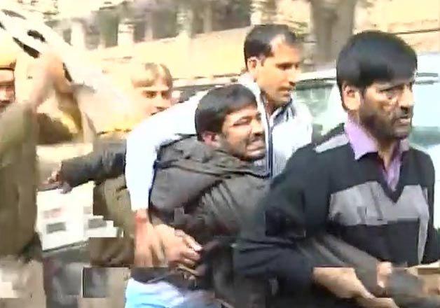 kanhaiya manhandled outside delhi court sent to jail till