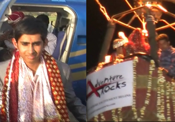 mathura village witnesses wedding inside a hot air balloon
