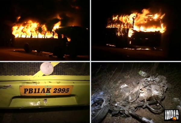 patiala bus set on fire after it kills 2 bike riders