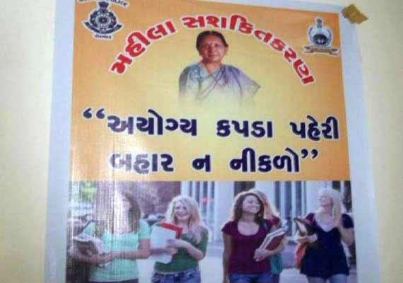 porbandar police remove posters advising conservative