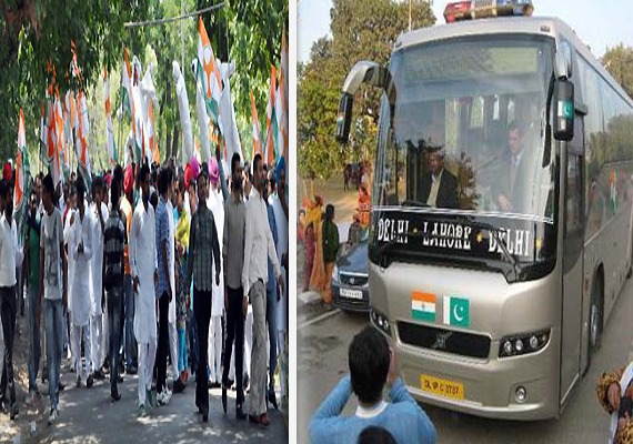youth congress activists try to stop delhi lahore bus