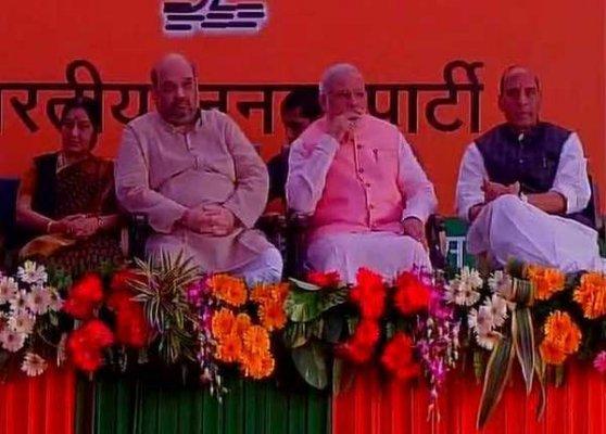pm narendra modi arrives bjp office for diwali milan