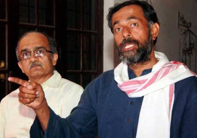 bhushan and yadav launch new group of aap rebels call it