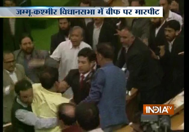 beef row bjp mla beats independent lawmaker in j k assembly