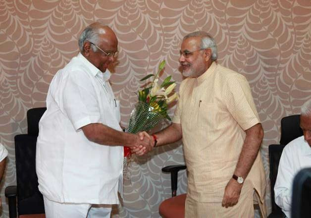 modi pawar share dais trigger talks of political realignment