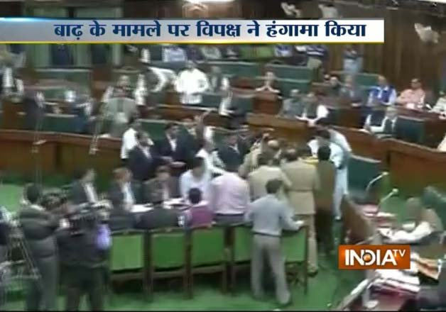 uproar in j k assembly over flood relief