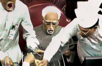 dmk aiadmk members scuffle in rajya sabha