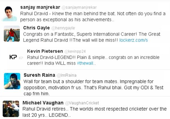 cricketing fraternity lauds rahul dravid