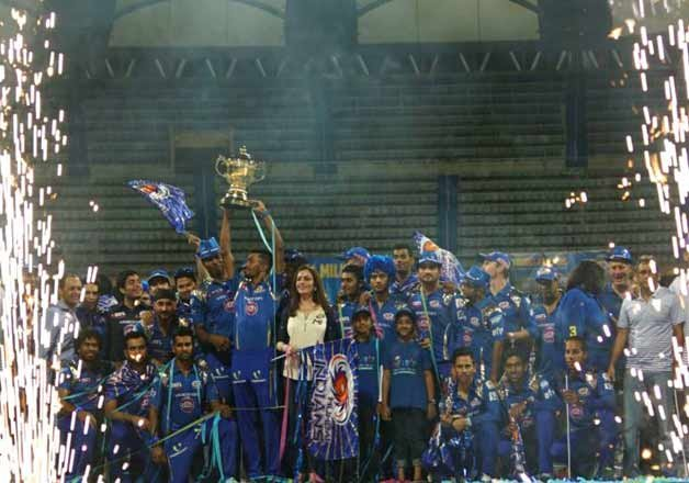 mumbai indians celebrate their second ipl triumph