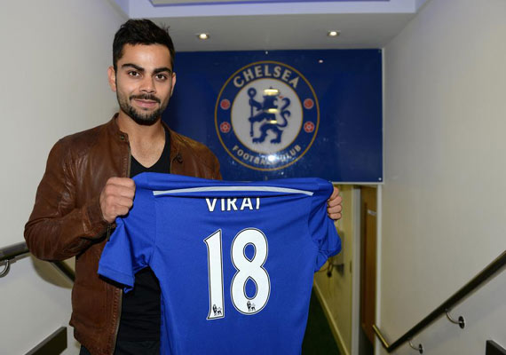 new arrival 61e41 10aea Virat Kohli spotted at Chelsea FC's football ground in ...