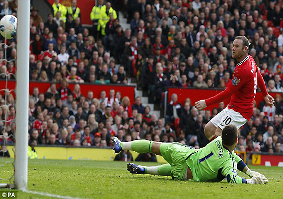 advantage fergie as rooney double lifts united over city to