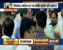 Mumbai: Shiv Sena-NCP-Congress MLAs assemble at Hotel Grand Hyatt.