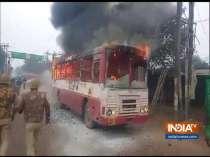 Citizenship Act Protest: State Transport bus set ablaze in Sambhal