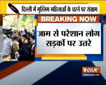 Common people hold protest against traffic jam due to closed roads in Shaheen bagh