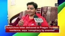 Suspicious letter delivered to Pragya Thakur