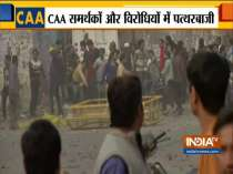 Stone pelting begins between pro and anti-Citizenship Amendment Act protesters in Delhi
