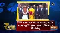 Budget 2020: FM Nirmala Sitharaman, MoS Anurag Thakur reach Finance Ministry
