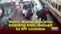 Watch: Woman slips while boarding train, rescued by RPF constable